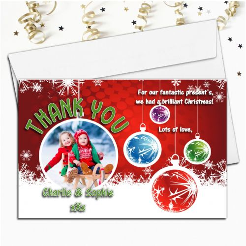 10 Personalised Christmas Xmas Thank you PHOTO Cards N7